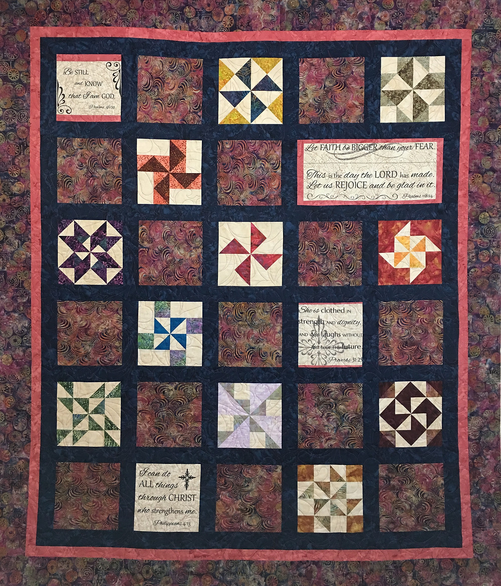 Sampler Quilt and Bible Verses by Terri Manley