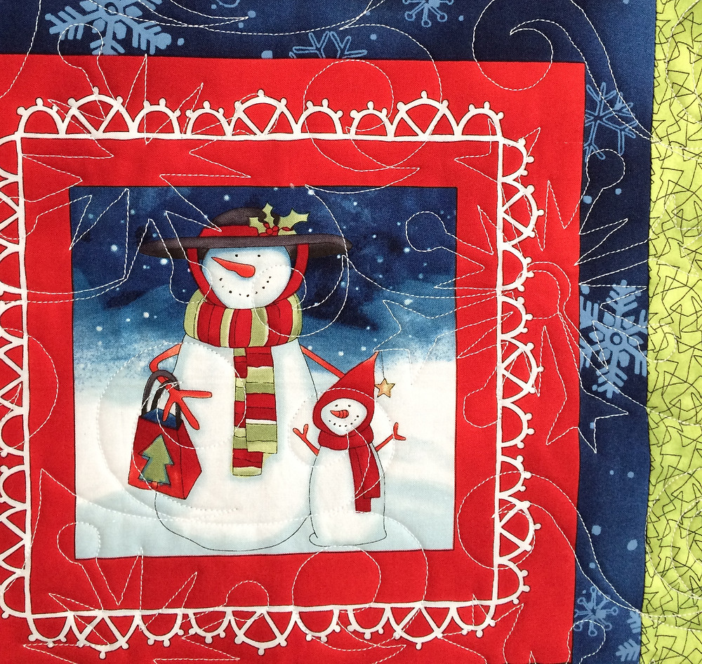 Another closeup of Wendy Bell Snowmen Quilt
