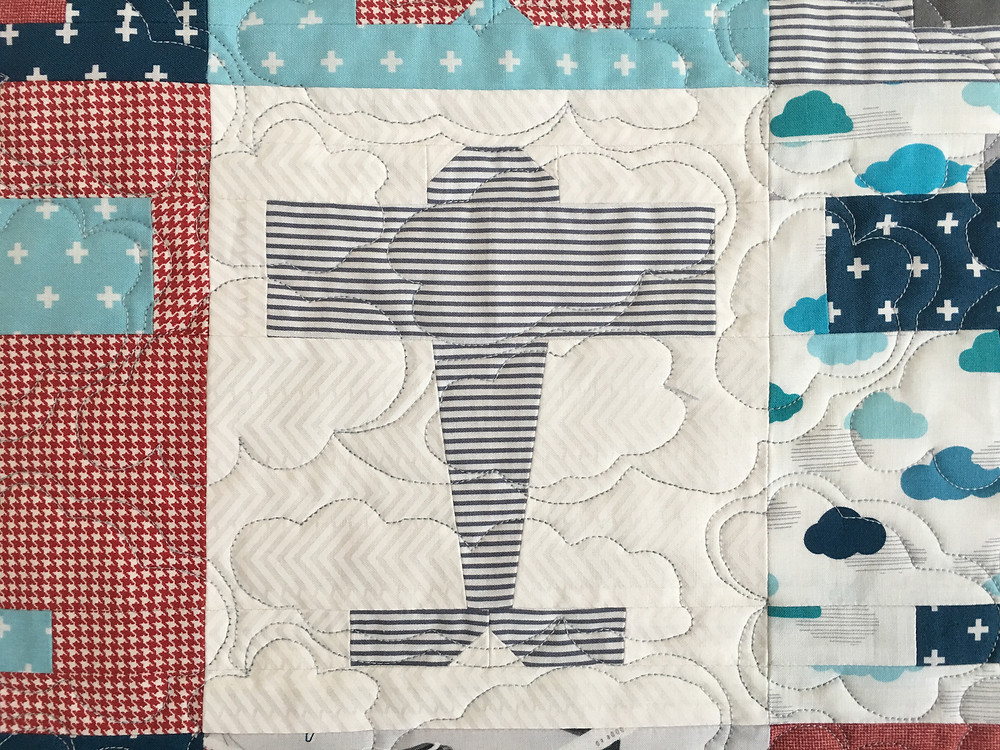 Clouds Quilting Pattern on Airplane Baby Quilt by Deb Taylor
