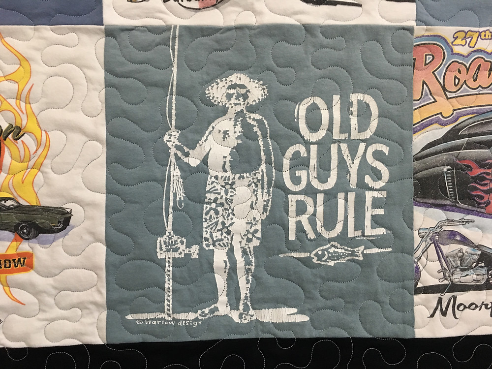 Meander Quilting Pattern on Car Show T Shirts quilt by Linda Maker