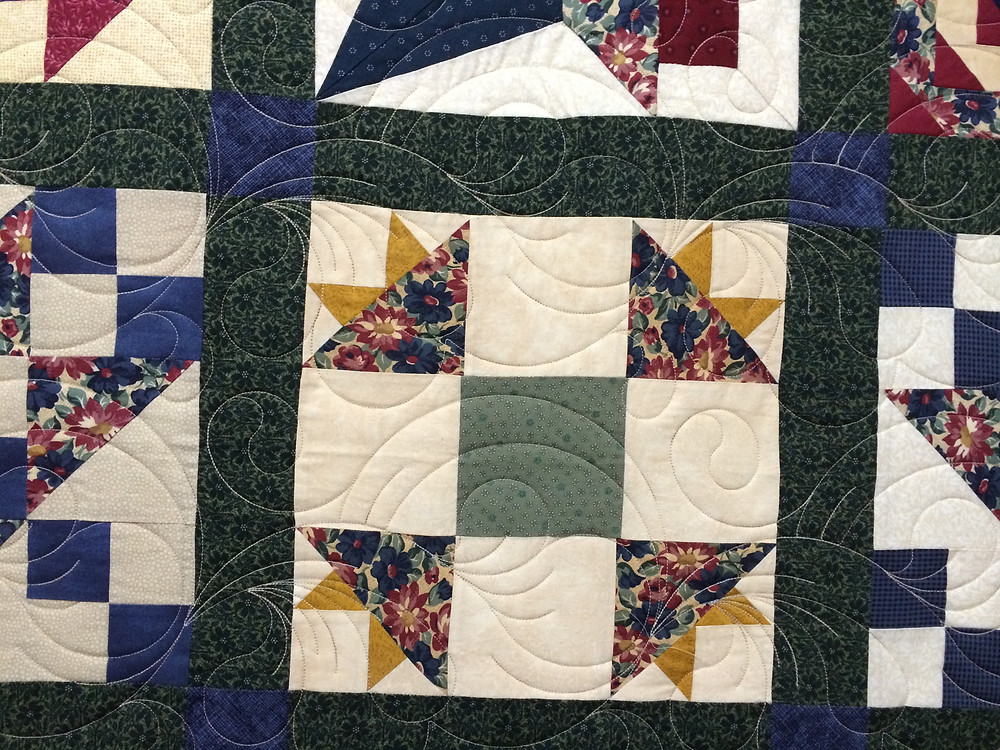 Feathers Quilting Pattern on Community Project Quilt by Debbie Seitz