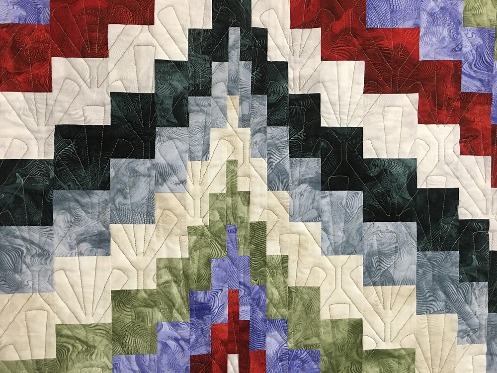 Geometric Quilting Pattern on Bargello Quilt by Sheila Stuckey