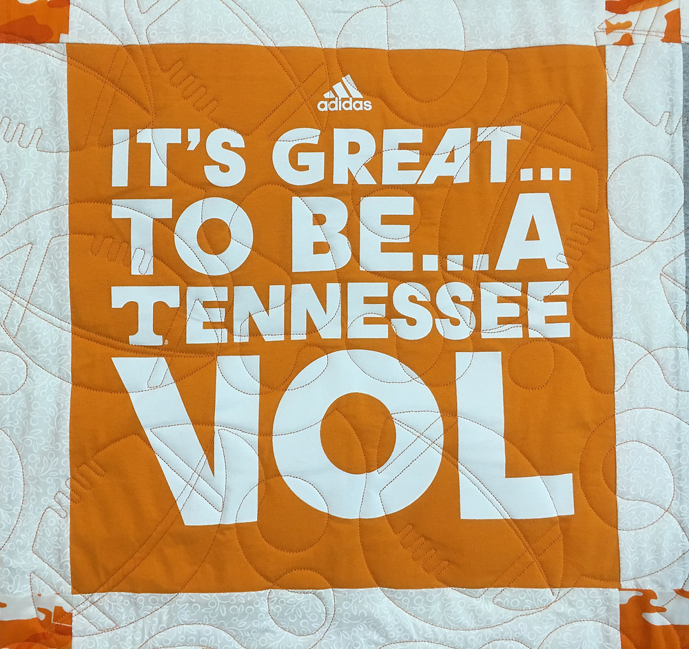 Another closeup of University of Tennessee T-Shirt Quilt