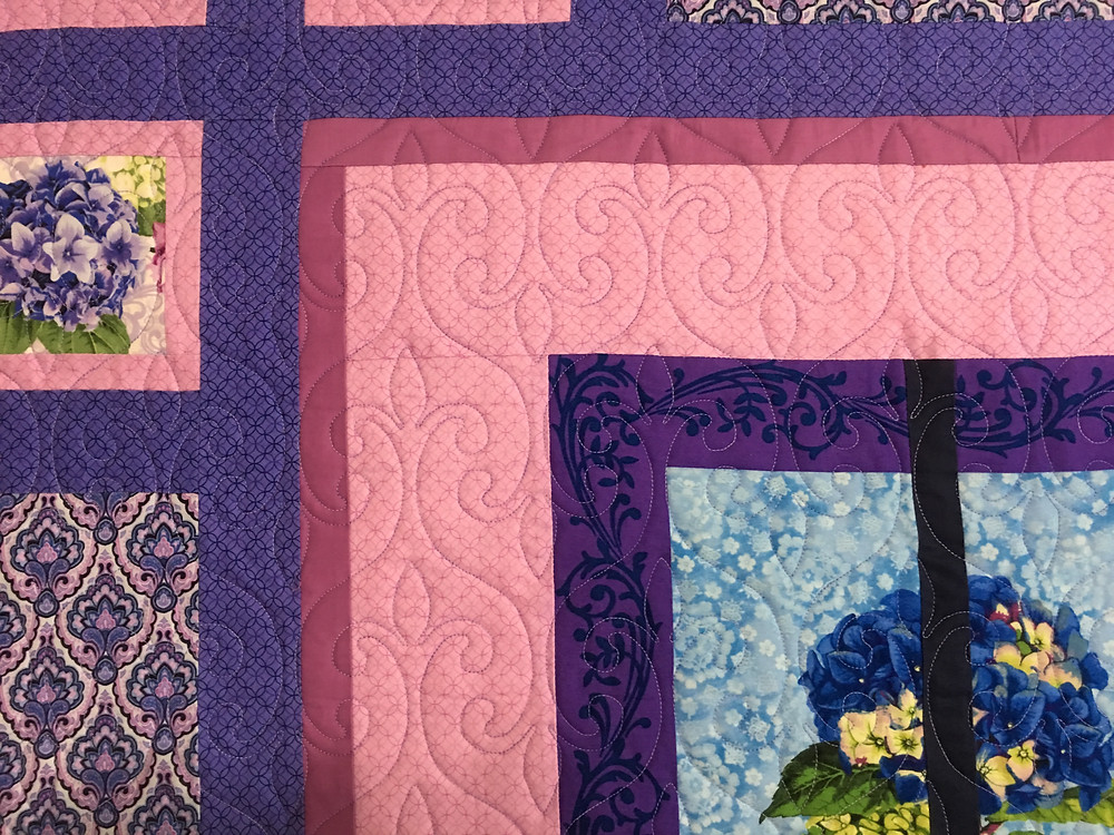 Another closeup of swirls quilting pattern on Convergence Quilt by Wendy Bell
