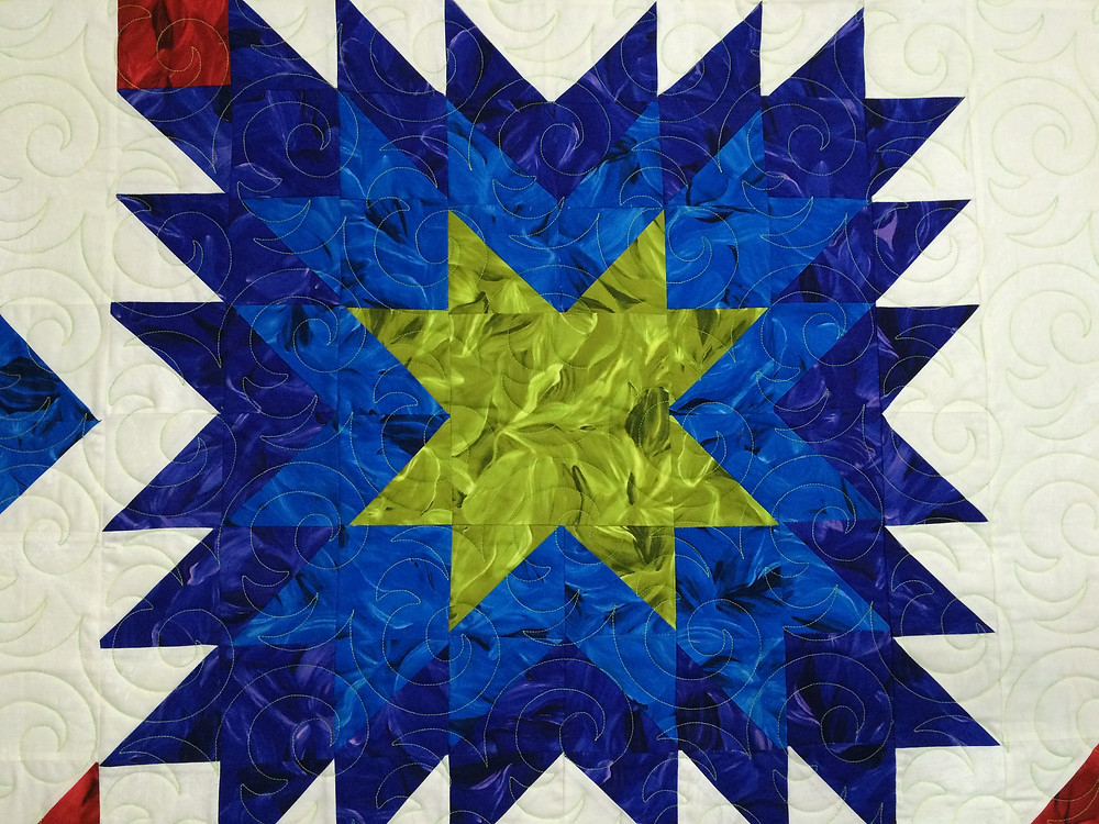Another Close up of Beth Robertson Floating Star Quilt