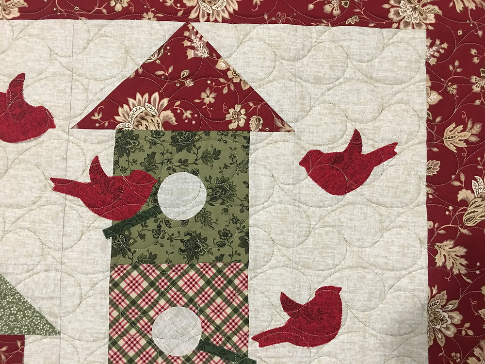 Feather Quilting pattern on House Warming Party by Leanne Strum