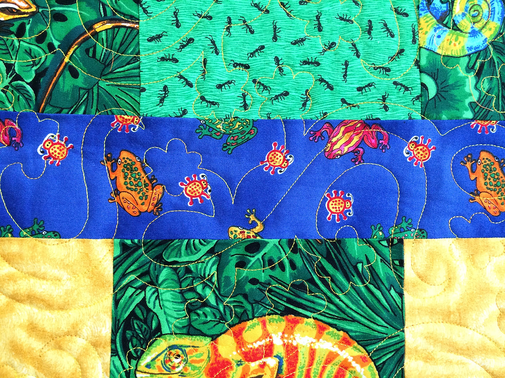 Closeup of Jennifer Adams Lizards by the Row Quilt