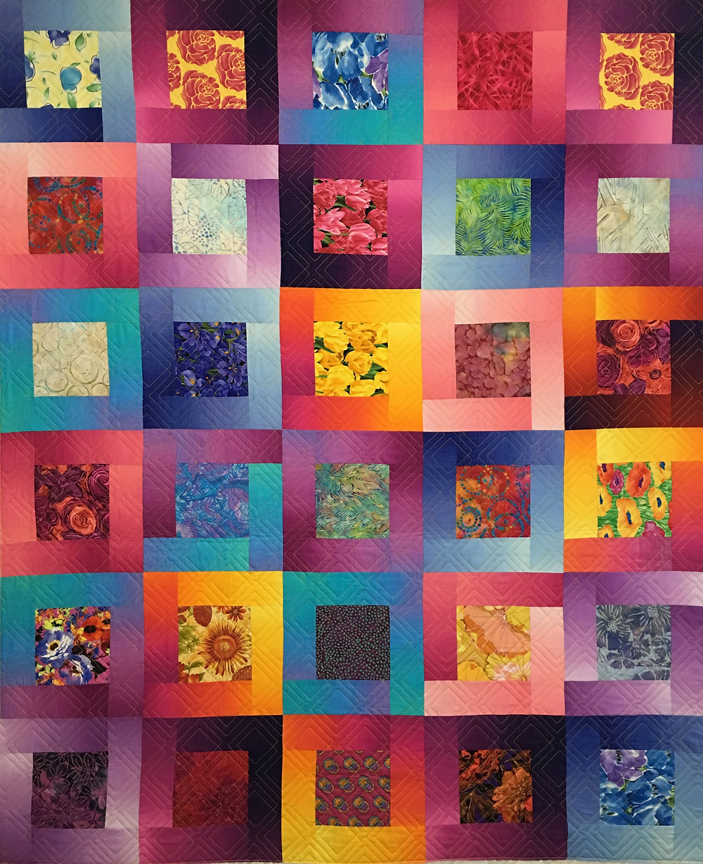 Bright Colors for Square in a Square Quilt by Linda Shields