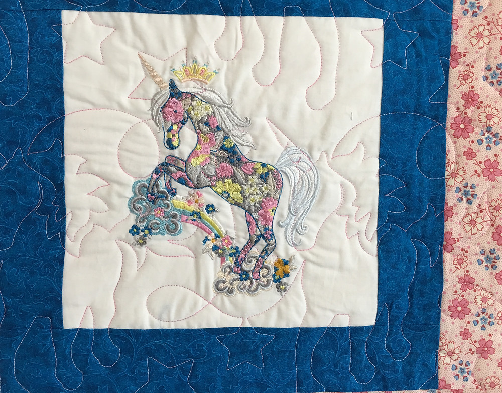 Unicorn Quilting Pattern on Unicorn Quilt by Peggy Krebs
