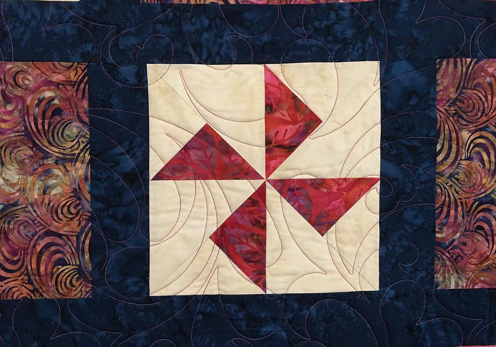 Pinwheel block in Terri's Sampler Quilt