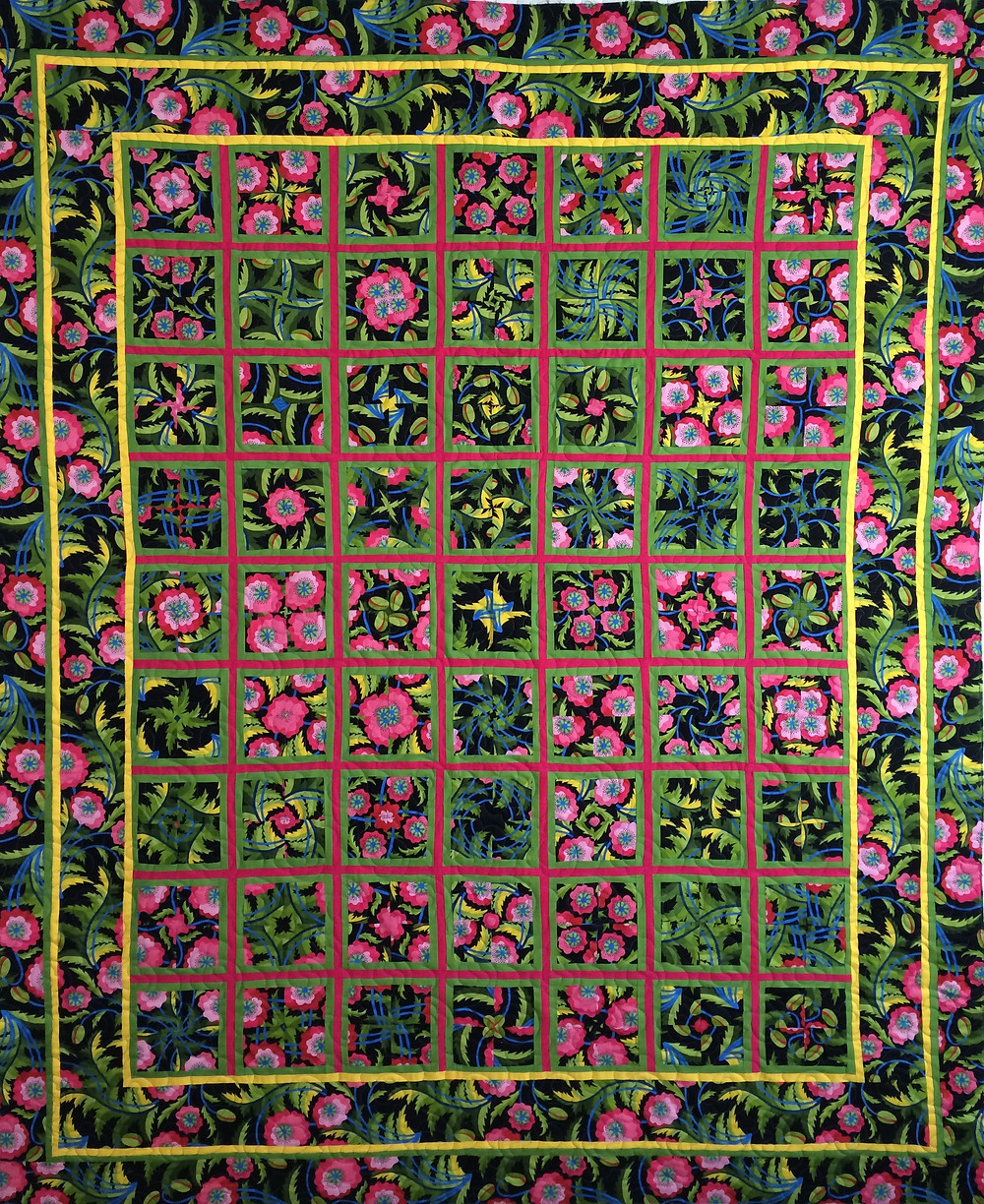 stack and wack quilt done with floral prints
