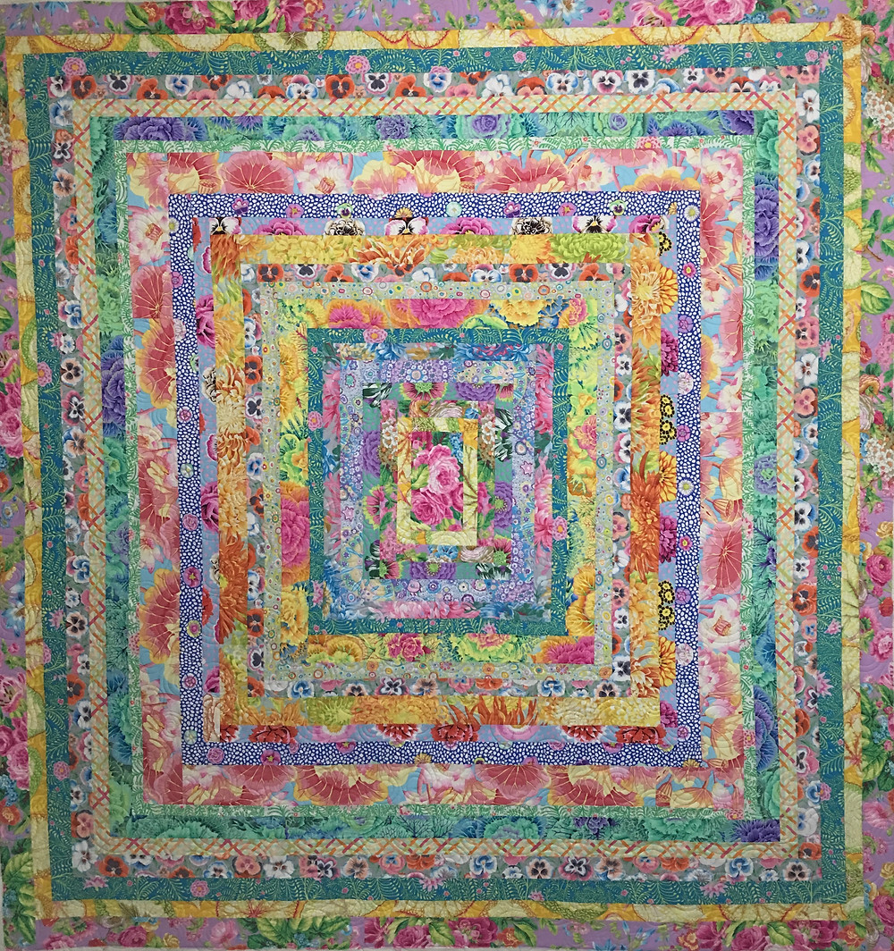 Ice Cream Large Log Cabin Quilt by Penny Wheat