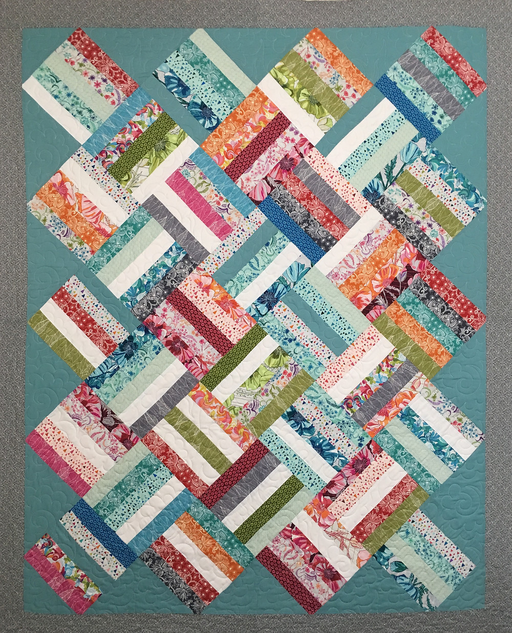 Jelly Roll Squares on Point quilt by Melda Savage