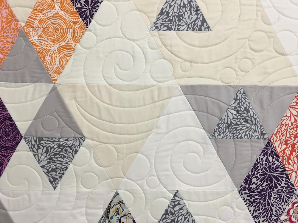 Swirls Quilting Pattern on Dancing Quilt by Nancy Kear Johnson