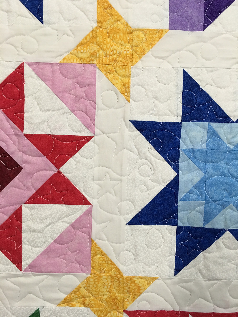 Closeup of Mary Starry Wonders Quilt