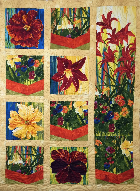 large floral panel quilt