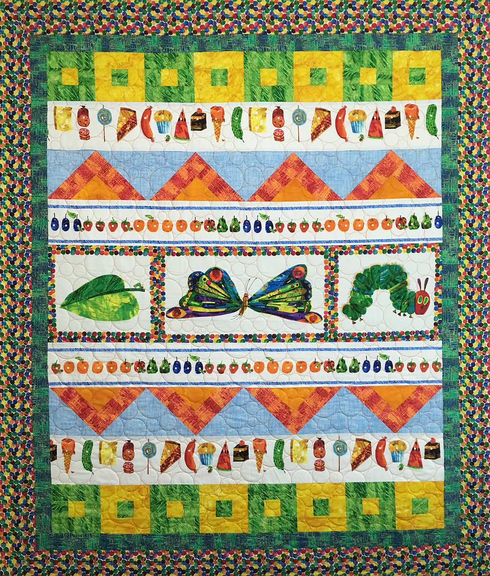 Leanne's Very Hungry Caterpillar quilt is very colorful