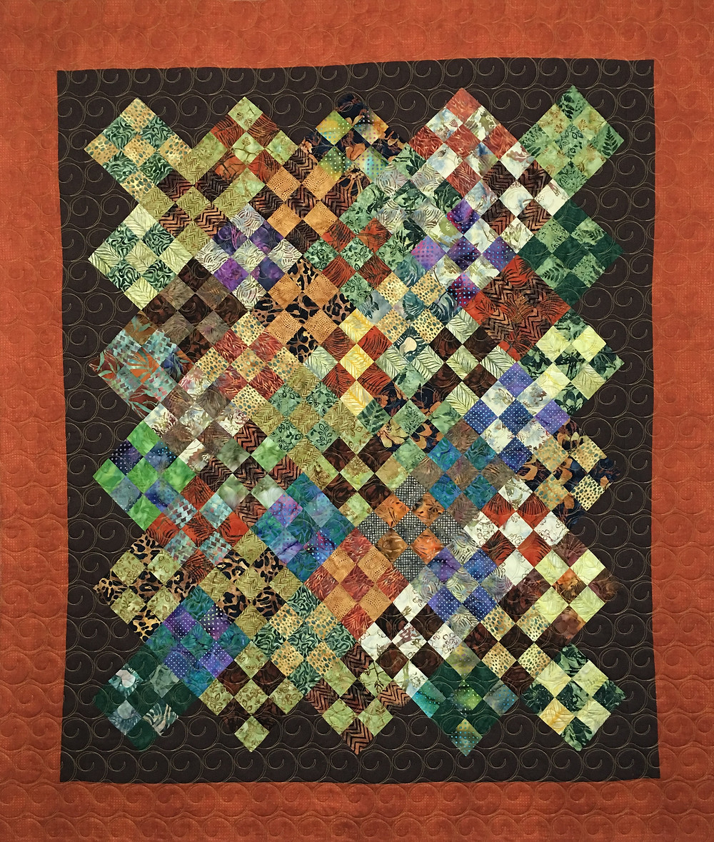 Sue Scrappy Nine Patch on Point Quilt