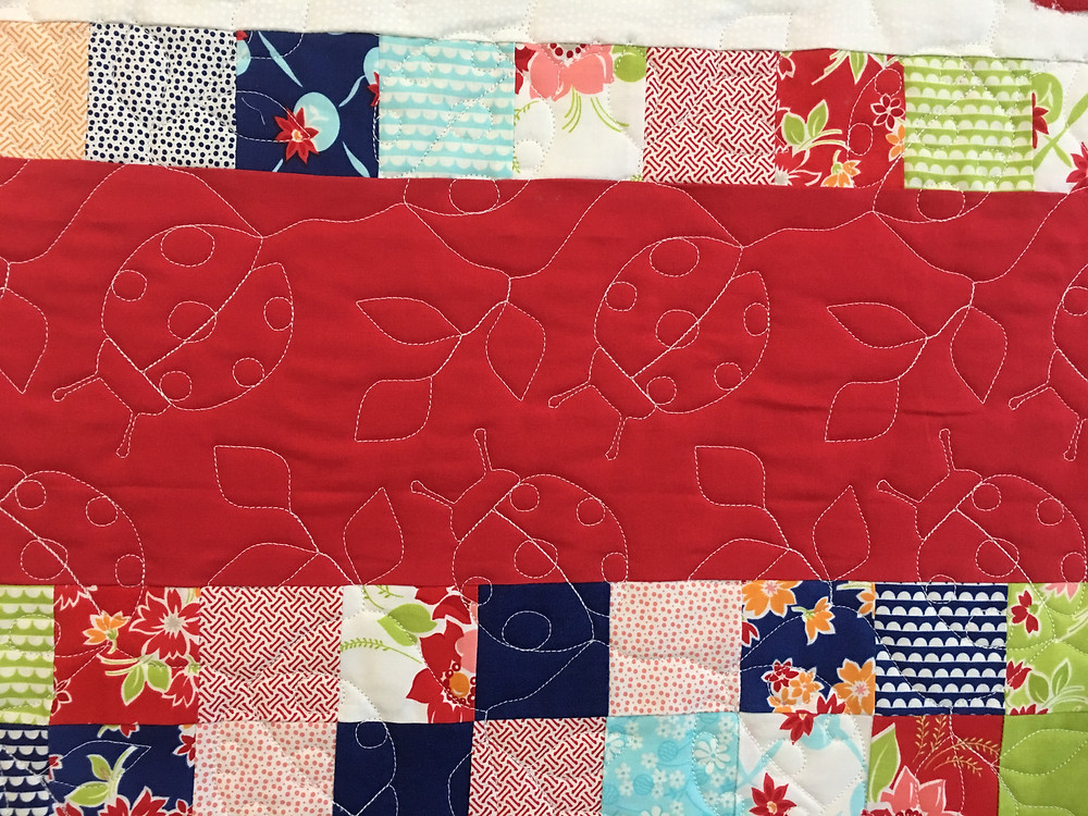 Beetle Bugs Quilting Pattern on Baby Quilt for Blythe by Leanne Strum