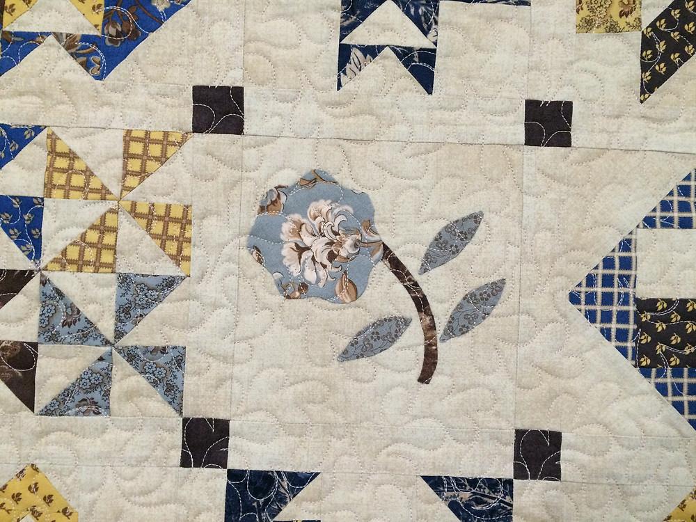 closeup of Kimberly Jolly Moda Sampler Quilt