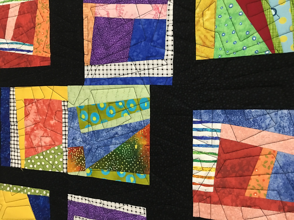 Close up of Geometric Quilting Pattern on Controller Choas by Laura Wetzel