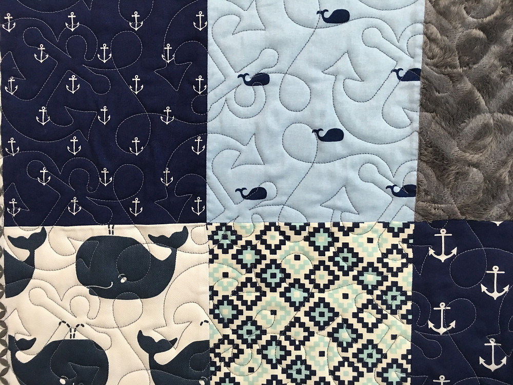 close up of Sherry Harris Nautical Baby Quilt