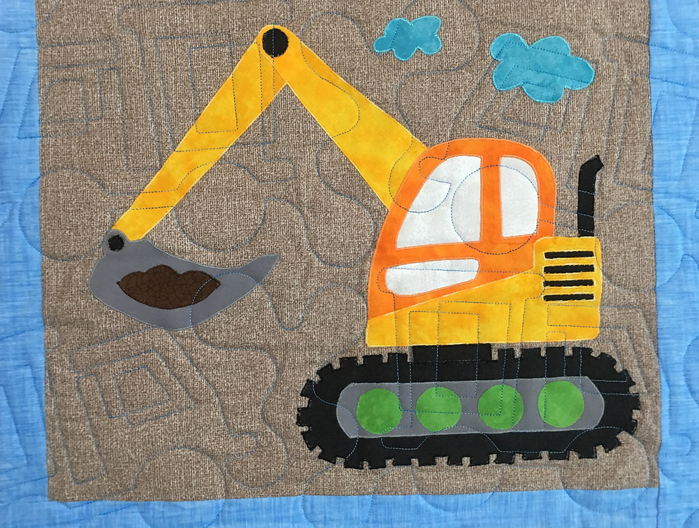 Another tractor on I Love Dirt Quilt by Chris Olsen