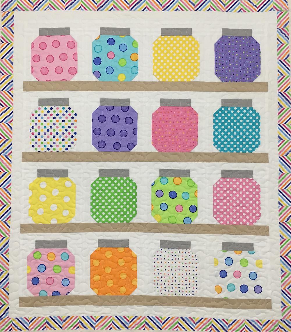 Jars of Buttons quilt by Delfina Guerra