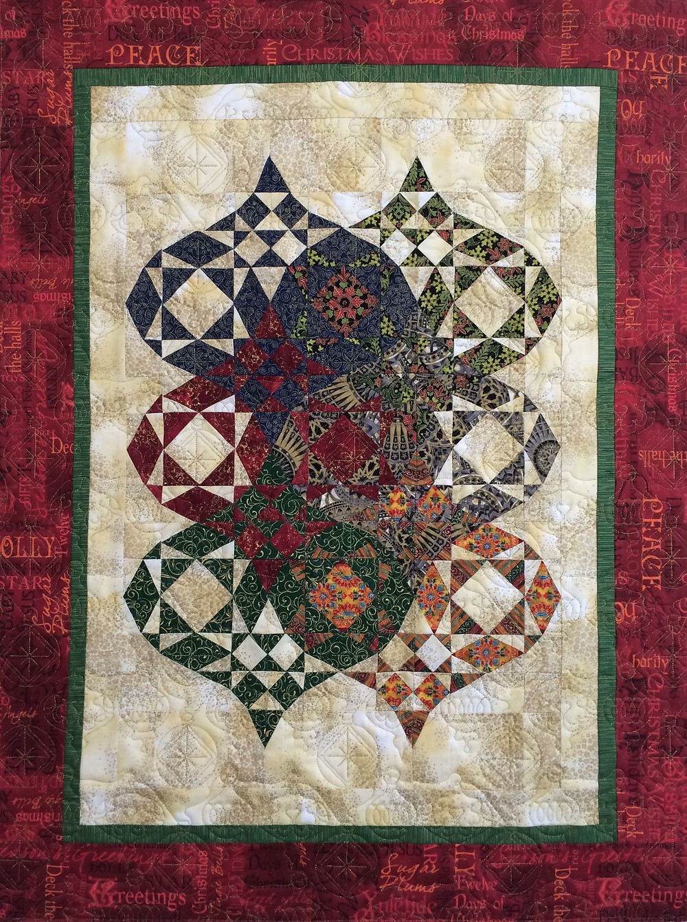 christmas ornament quilt with interlocking ornaments