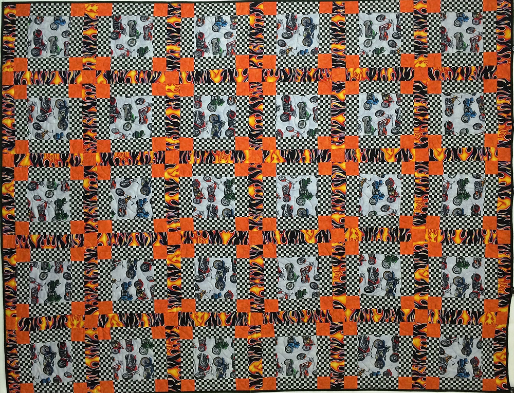 Motorcycles and Flames Quilt by Patricia Foret