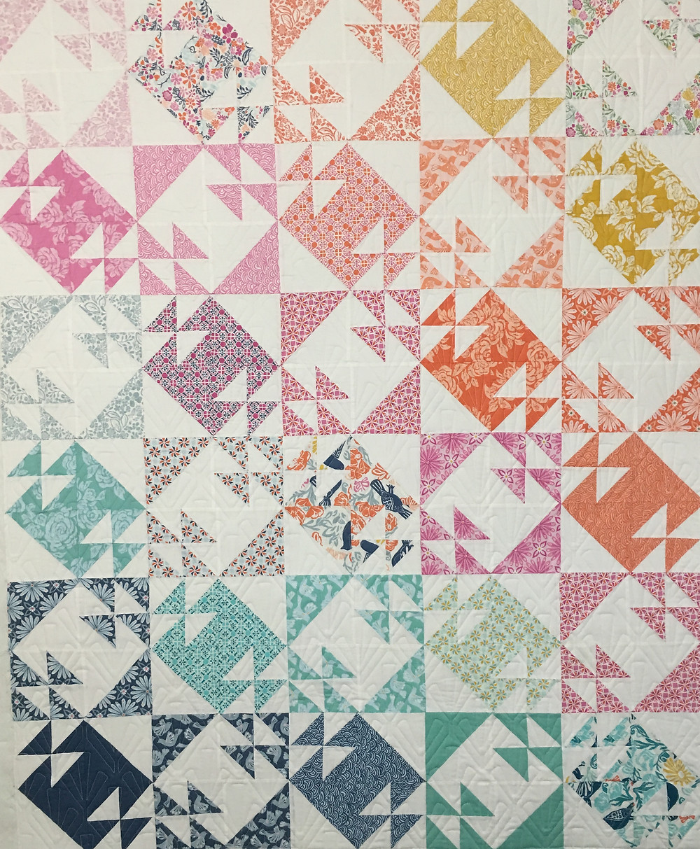 Half Square Triangles Double T Quilt by Jocelyn Ueng