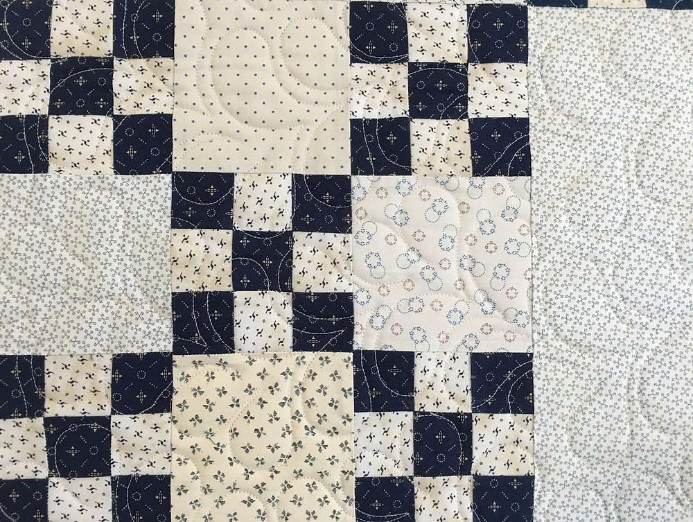 Feather Quilting Pattern on Crossroads Baby Quilt by Barbara Brown