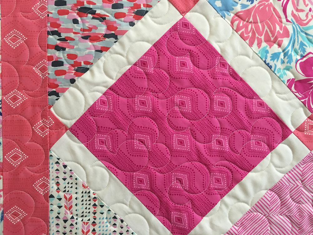 Close up of Anna Paradise Quilt in shades of pink