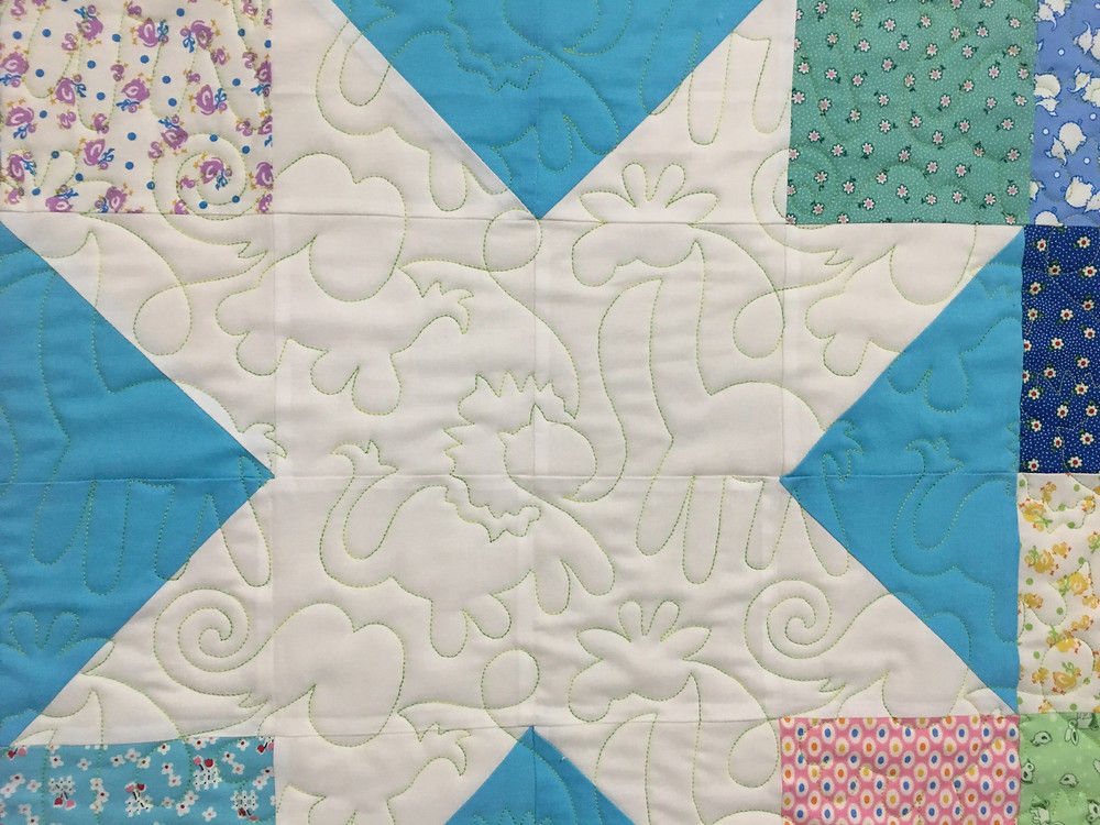 Animals Quilting Pattern on Lone Star Baby Quilt by Cindy Lovelace