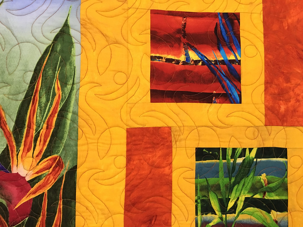 Quilting design on Bird of Paradise quilt by Beth Robertson