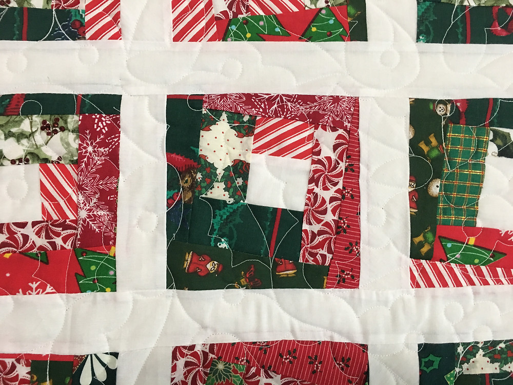 Holly leaves quilting pattern o Wonky Log Cabin Quilt by Cynthia Lance