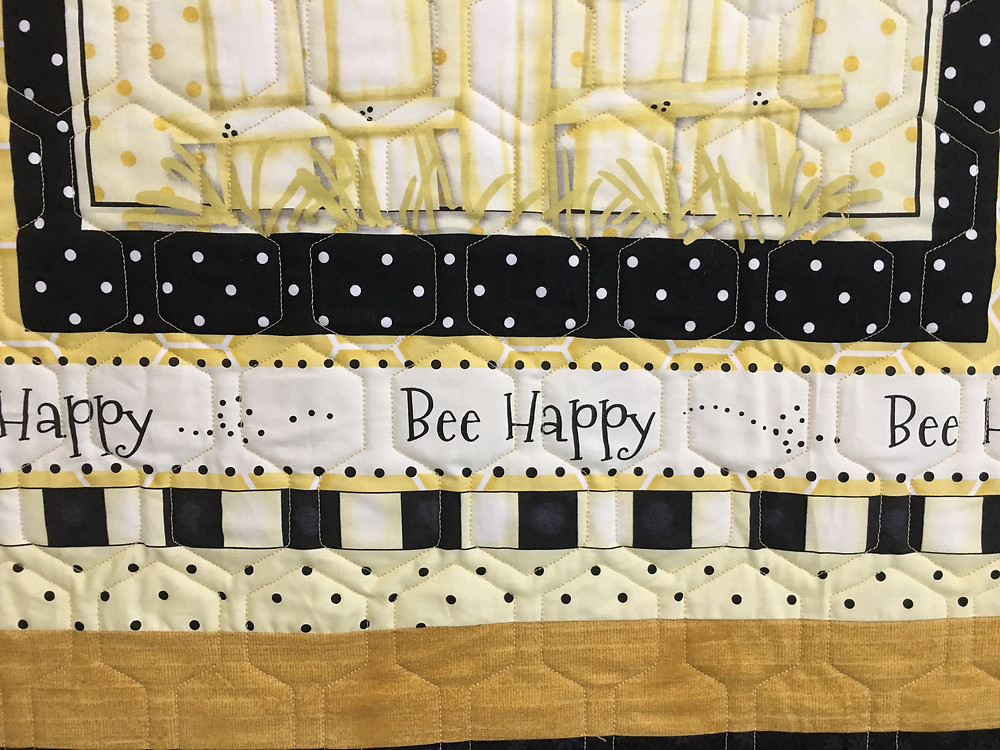 Geometric Quilting Patter on Bee Happy Quilt by Wendy Bell