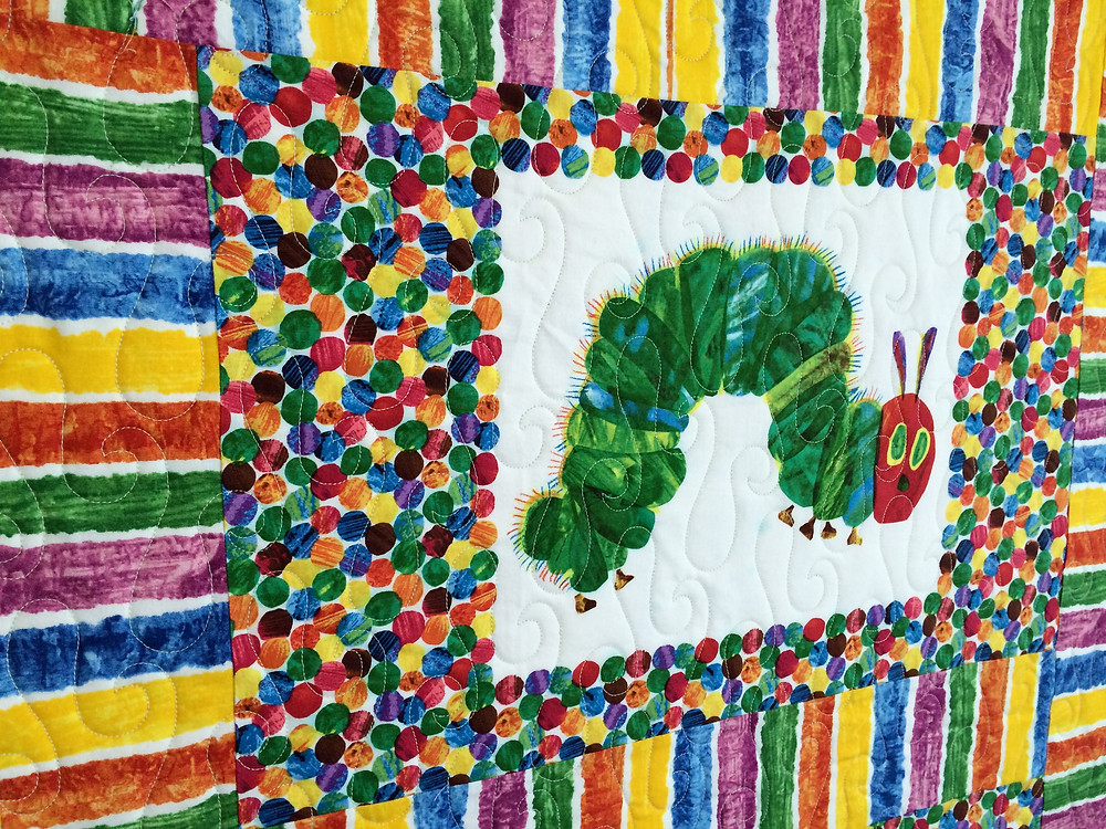 closeup of Nancy Thornton's very hungry caterpillar qult