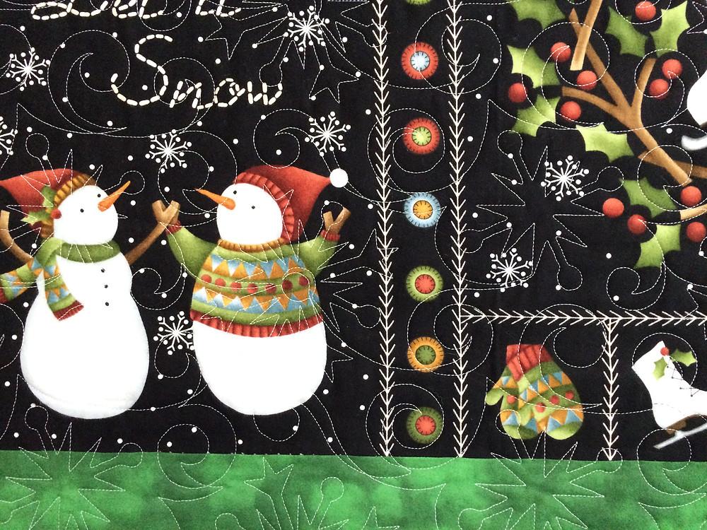 closeup of Leslie St. Onge Christmas Quilt
