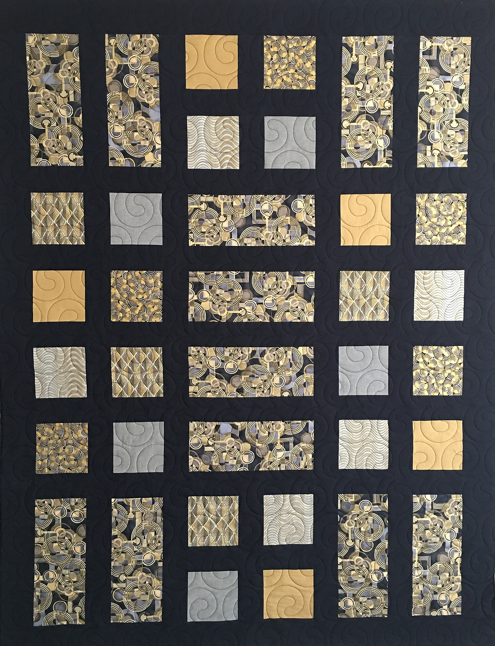 Silver and Gold Quilt by Susan Abram