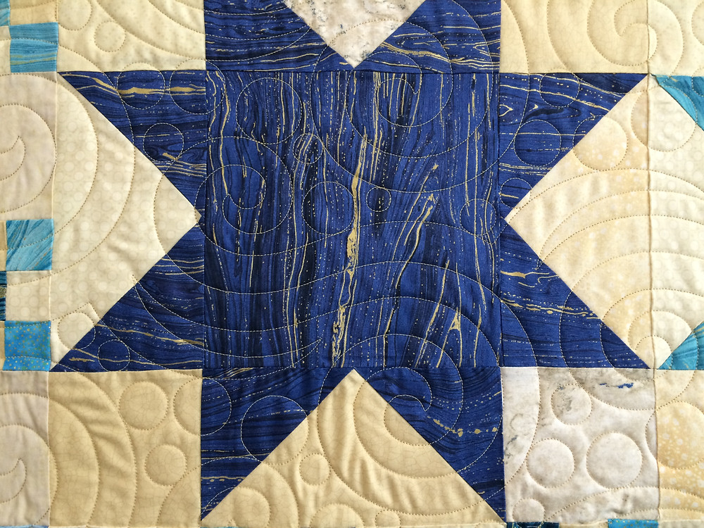 Another close up of Penny Wheat Sea and Sand Quilt