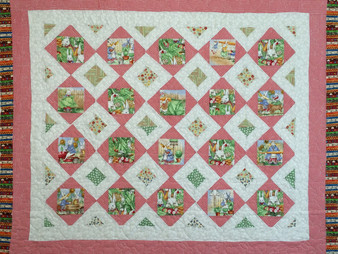 Judi Castro Bunnies in Red and White Blocks Quilt