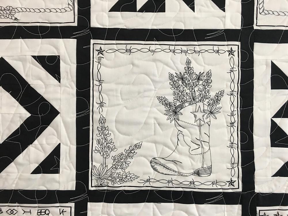 Texas Theme Quilting Pattern on Nancy Nesbaurm Quilt