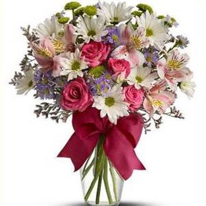 Mix de flores em vaso de acrilico - MOD.013