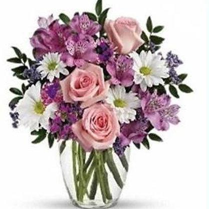 Mix de flores em vaso de acrilico - MOD.017