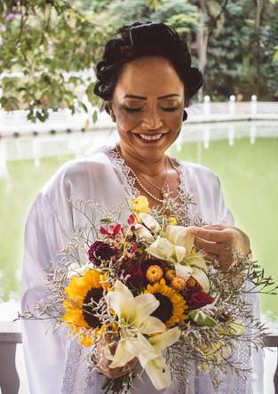 Bouquet de noiva com girassol