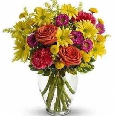 Mix de flores em vaso de acrilico - MOD.023