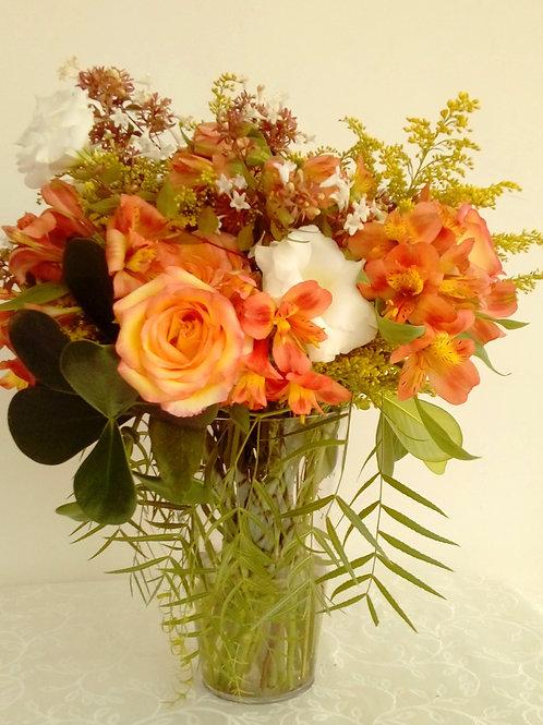 Mix de flores em vaso de acrilico - MOD.001