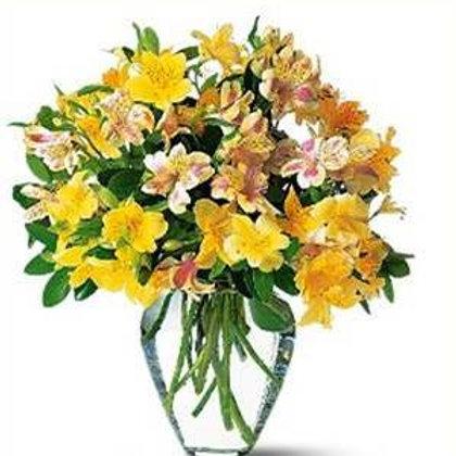 Mix de flores em vaso de acrilico - MOD.035