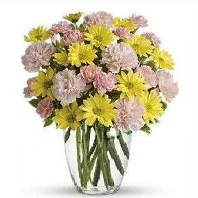 Mix de flores em vaso de acrilico - MOD.025
